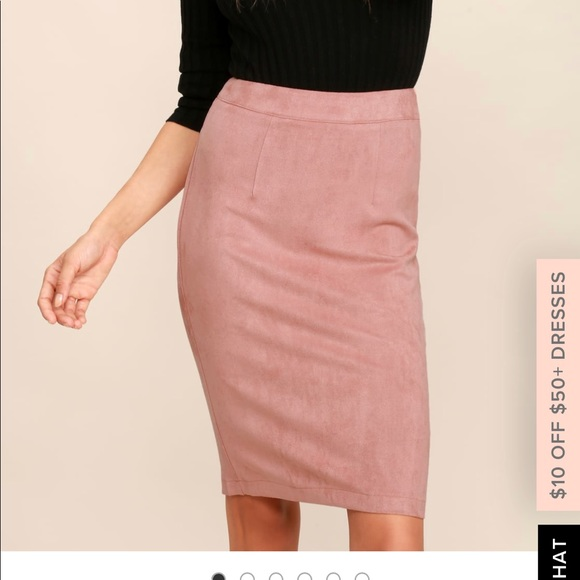 bc2f4af68 Lulu's Skirts | Lulus Superpower Blush Suede Pencil Skirt | Poshmark